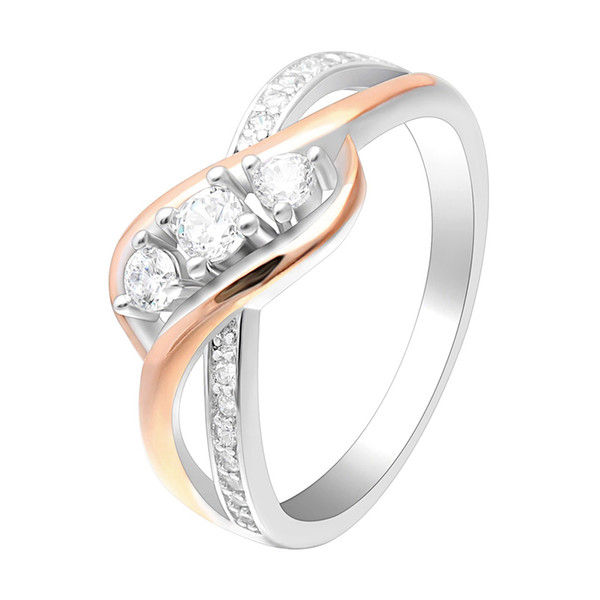Hainon Crossing Rose Gold/Silver Color Cross Rings Jewelry Classic Engagement Ring for Women Romantic Wedding Ring Distribution