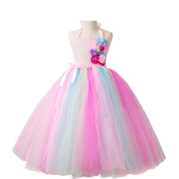 New long flower girl dresses birthday party kids dresses kids designer clothes girls tutu dresses Pettiskirt girls dress kids clothes A5558