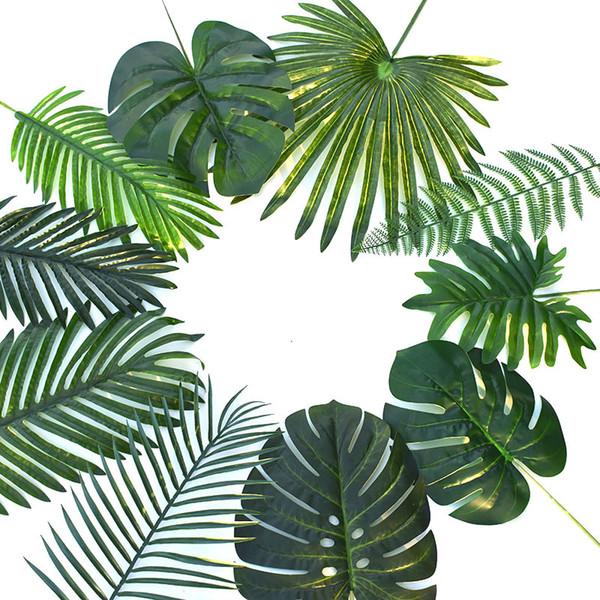 Горячий Искусственный монстер растения Пластиковый тропический Palm Tree Листы Главной Сад Украшение Аксессуары Фотография Декоративного Leave
