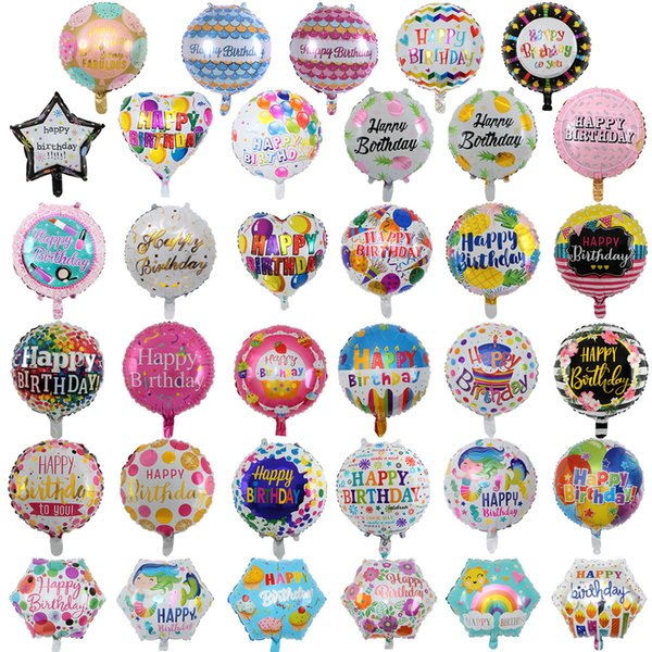 top popular 18 Inch inflatable birthday party ballons decorations helium foil balloon baby kids happy birthday balloons toys supplies home party 2021