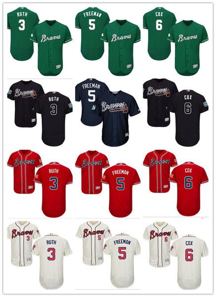 Personalizzato da uomo donna gioventù Atlanta Braves Jersey # 3 Babe Ruth 6 Bobby Cox 5 Freddie Freeman casa blu grigio bianco maglie da baseball