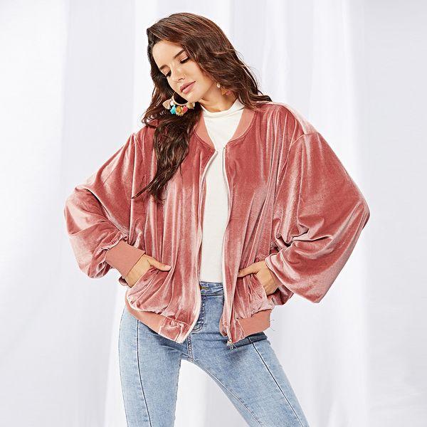 Herbst und Winter Mode neue Frauen Shirt rosa Samt Fledermaus Ärmel Reißverschluss lose Frauen dünnen Mantel