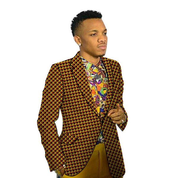 African Print Men's Blazers Holiday Style Ankara Man Suit Jacket Tailored Made Wedding Coat Suits For Beach Party