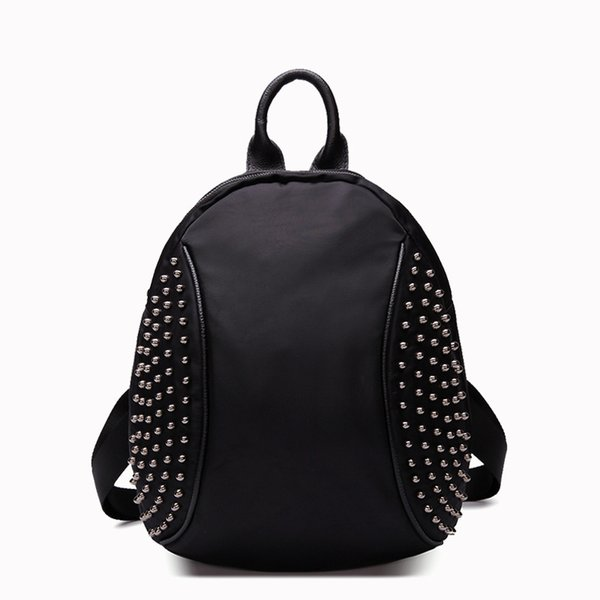 Angel2019 Summer Will China Rivet Both Shoulders Package Woman School Wind Genuine Leather Backpack Trend A Bag
