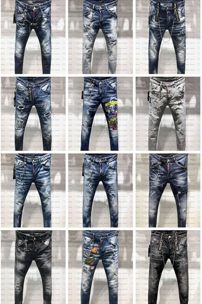 best selling 2019 FW New Arrival Top Quality Brand Designer Men Denim Jeans Embroidery Pants Fashion Holes Trousers US Size 28-38
