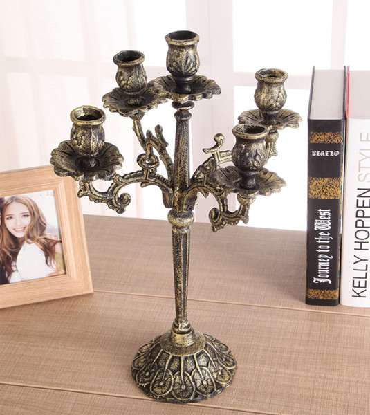 Vintage Cast Iron Pillar Candle Holders 4 Arm 5 Light Metal Candelabra Candlestick Stand Wedding Xmas Home Table Dinner Decor Brown Bronze