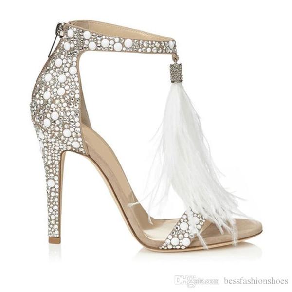 Çıplak Kristal Süslenmiş Yüksek Topuk Sandalet Tüy Püskül Gladyatör Sandalet Kadın Ayakkabı Yüksek Topuklu Kadın Düğün Sandalias mujers Pompalar