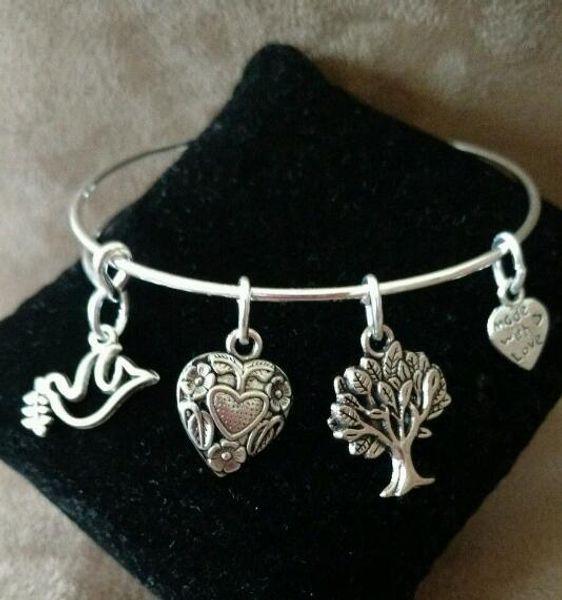 Expandable Tibetan Silver Handmade Bangle Dove Bird Love Heart Bracelet Tree Of Life Men Friendship Bracelet For Woman Jewelry Accessorie