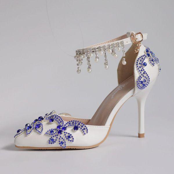 Crystal Queen Women Shoes High Heels Wedding Thin Heels blue Diamond Glittering Evening Dress Sandals Bride Shoes Pumps Party