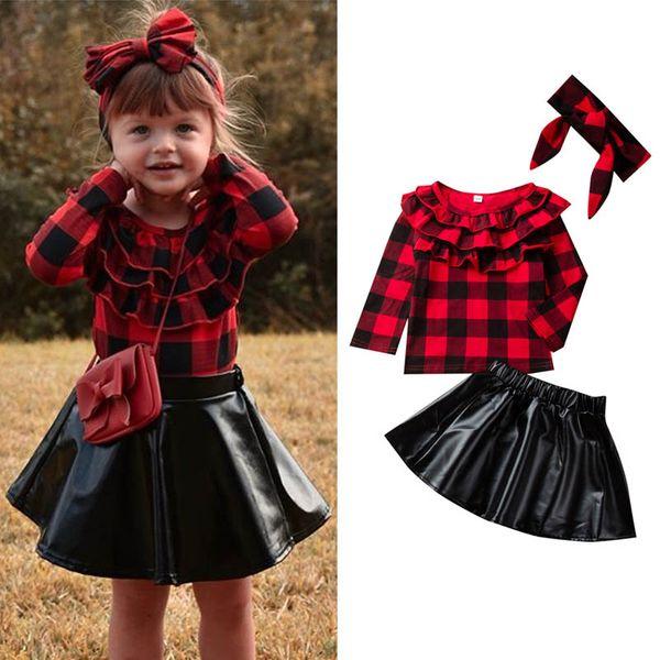 INS nouvelles filles costumes filles mode vêtements automne vêtements design enfants boutique filles blouse tenues design + jupe en cuir Pu + serre-tête A7946
