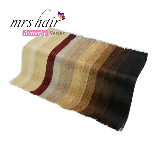 """Tape In Human Hair Extensions 20pcs Indian Remy Hair Extensions On Tape Adhesive Skin Weft 18"""" 20"""" 22"""" 24"""" Hot Sales Promotion Extensions"""