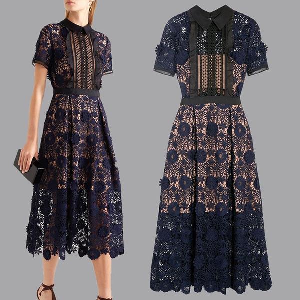 Kadınlar Dantel Uzun Parti Elbise Öz Portre Elbiseler Yaz Bahar 19SS Kadın Resmi Elbise