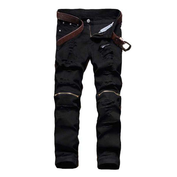 2018 Maschio Jeans Nero bianco rosso Zipper Knee Hole biker Jeans Uomo Marca Slim dritto Distrutto Torn Jean Pantaloni Per Uomo Homme