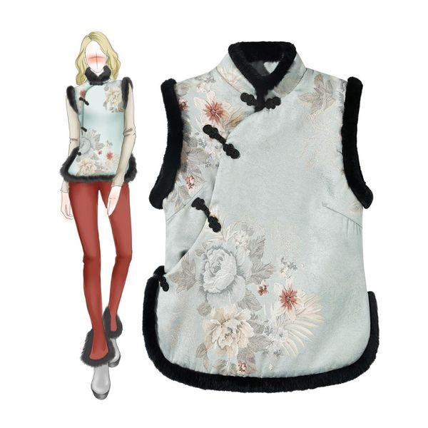New winter improved cheongsam female thick warm rabbit Collar Plate button Sleeveless vest small cotton jacket