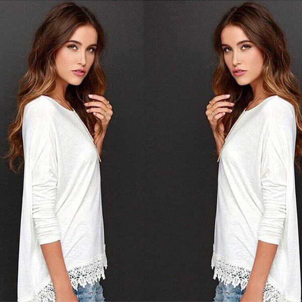 Summer women's new long-sleeved solid color lace T-shirt women's loose simple casual large size cotton bottoming shirt