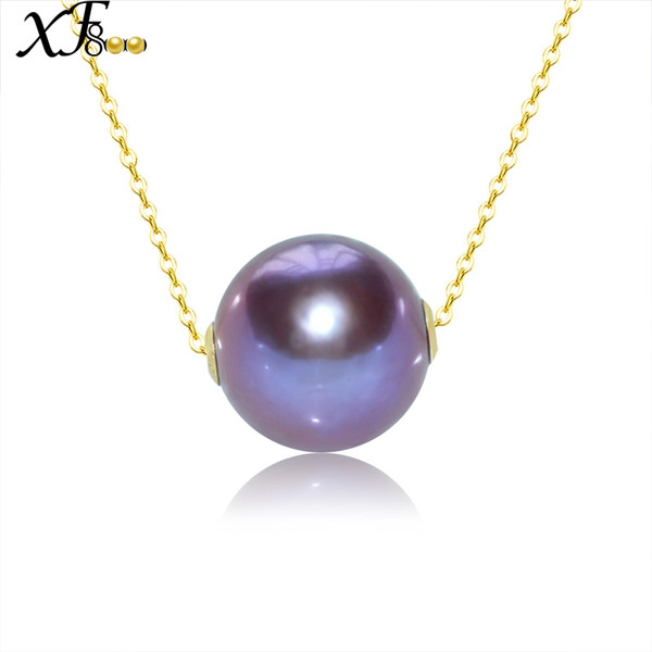 XF800 Classical Fine Pearl Jewelry Natural Pearl Pendant Real 18K Gold Necklace Pendant Jewelry Round D319
