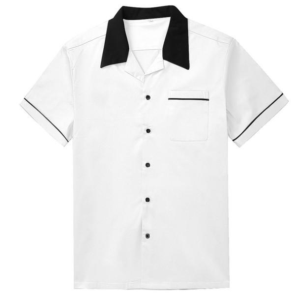Moda Siyah Yaka Beyaz Gömlek Erkekler Kısa Kollu Pamuk Rockabilly Erkekler Gömlek Büyük Boy Rahat Batı Adam Iş Elbiseleri
