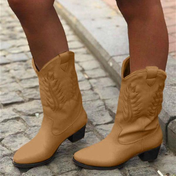 Nouvelle mode des femmes Bottes Printemps Bottes d'hiver en noir et blanc de mode de haute qualité Chaussures Western Cowboy Chevalier Chaussures Femme