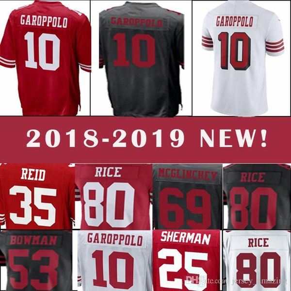 big sale 0042b 34833 2019 San Francisco 49ers Jersey 10 Jimmy Garoppolo 7 Colin Kaepernick 16  Joe Montana 25 Richard Sherman Men'S Football Jerseys New From  Welove_jersey, ...