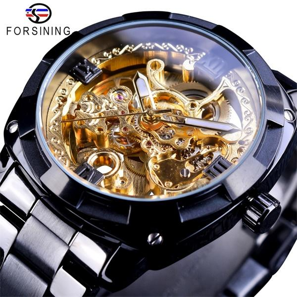 Forsining New Retro Classic Royal Design Watches Golden Skeleton Black Steel Transparent Mens Automatic Mechanical Watch Top Brand Luxury