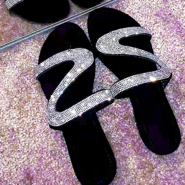 best selling Women Summer Rhinestone Shoes R Flat Slippers Open Toe Roman Beach Sandals Ladies Flip Flops Black Non -Slip Slides