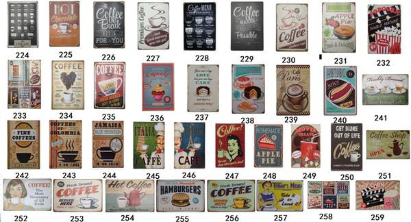 30 Modèles 20x30cm Café En Métal Signes Tin Peinture Home Decor Posters Artisanat Fournitures Mur Art Photos Decoración Del Hogar
