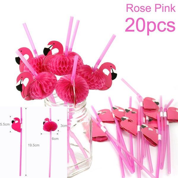 20pc Rose Pink Straw
