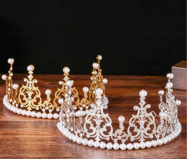 Gümüş Altın başlıkiçi Bling Tiaras Taçlar Düğün Saç Takı Taç Kristal İnciler Moda Akşam Balo Parti Aksesuarları headpieces