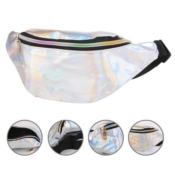 Kadınlar Pembe Gümüş Bel Çantaları Fanny Paketi Kadın Kemer Çantası Holografik Seyahat Bel Yansıtıcı Lazer Göğüs Telefon Kılıfı Paketleri