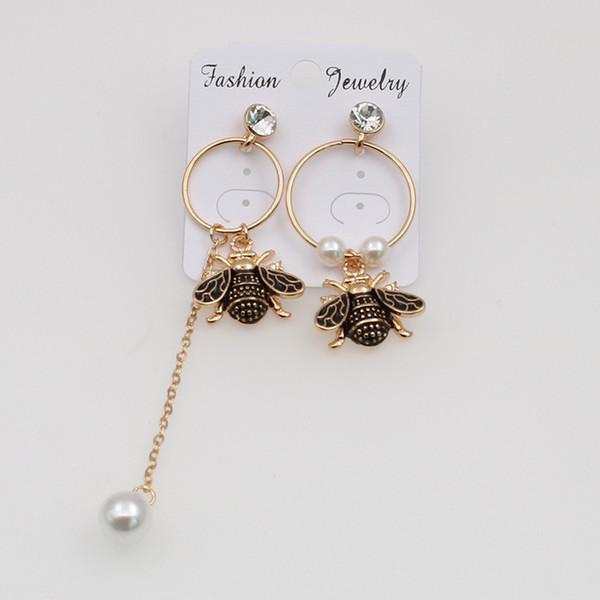 Designer Vintage Bee stud Earrings Fashion Women Dangel Long Style Asymmetric Pearl Tassel Stud Charm Earrings Jewelry Gifts For Women Girl