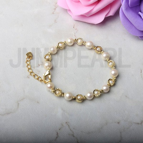 1Pc Adjustable Bracelets with 6-7mm White Round Freshwater Pearl Bead Gold Accessory for Women Gift Jewelry Surprise