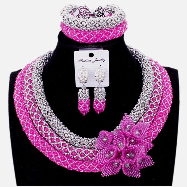 Dudo Bridal Jewelry Set Crystal 3 Layers Silver Fuchsia Necklace Earrings Set Handmade Flowers African Nigerian Beads Jewellery