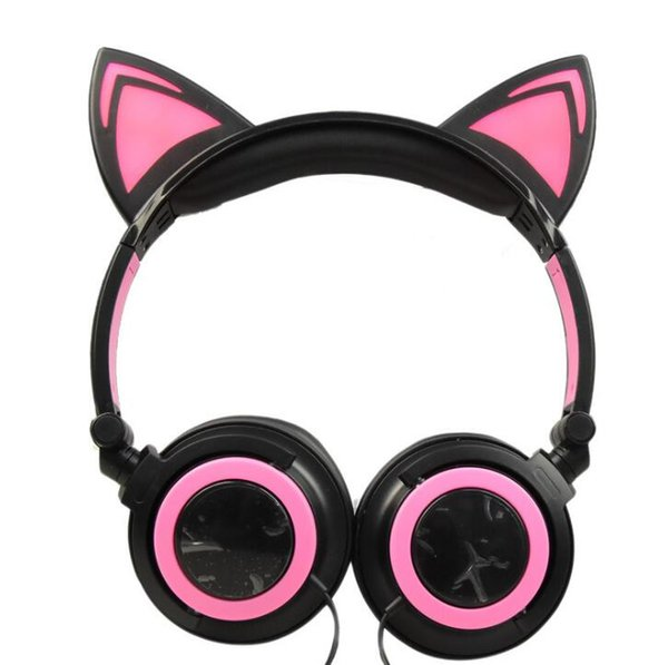 New children's cartoon cat ears head-mounted luminous foldable mobile phone music headphones 19.5 cm * 15.5 cm * 5.0 cm