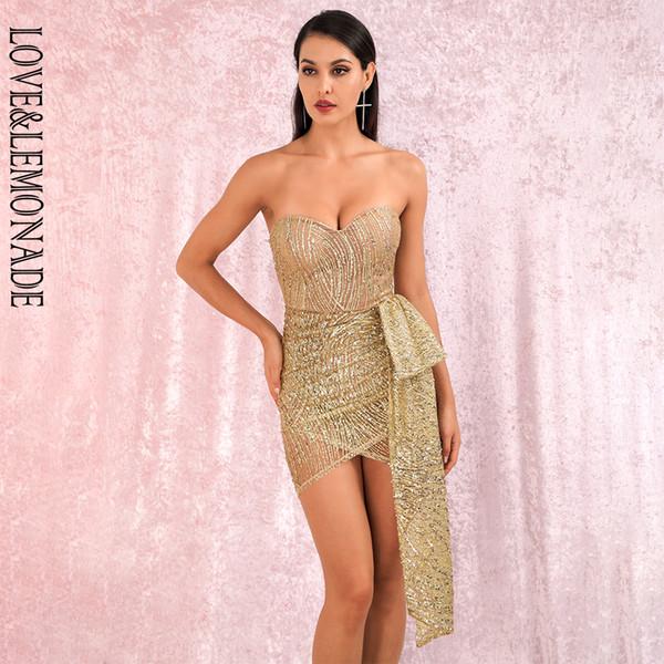 оптового Sexy Gold Tube Top Double Cross Растяжка Блеск Клееного Материал Bodycon партия Мини платье LM82017-1