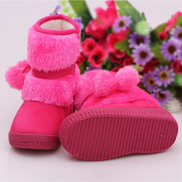 Kids Baby Winter Plus Velvet Soft Sole Crib Booties Outdoors Infant Shoes Soft Bottom Non-slip Warm Snow Boots Baby Shoes New A