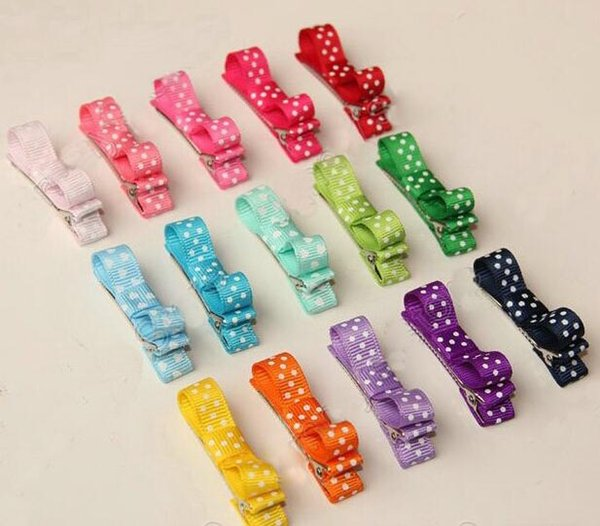 10pcs mini hair accessories bows clips layered polka dot ribbon covered Double Single Prong Duckbill Alligator Hairpins Baby headwear FJ3226