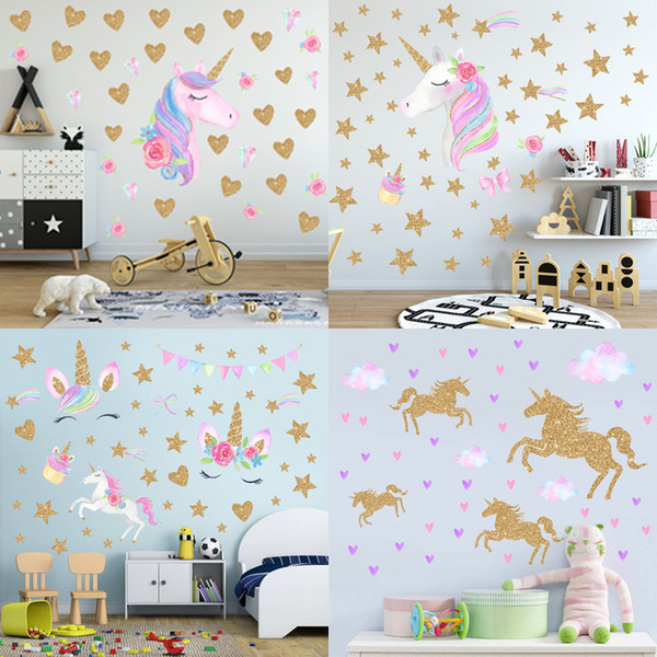 8 Styles Children Fashion Unicorn Wall Sticker Baby Girls Boys Cute Cartoon  PVC Art Waterproof Sticker Home Decor Wall Stickers Wallpaper Girl Wall ...