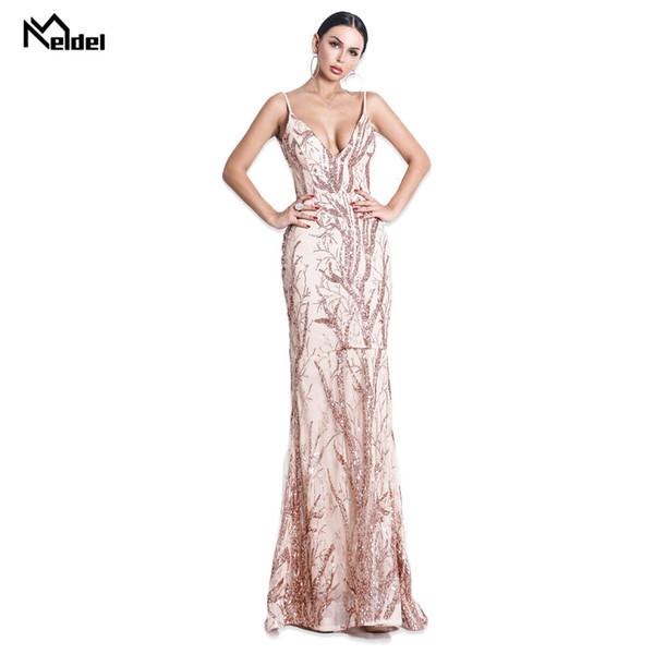 2019 Идеальное золотое длинное вечернее платье Элегантное вечернее платье без рукавов с блестками Русалка Вечернее платье Robe De Soiree