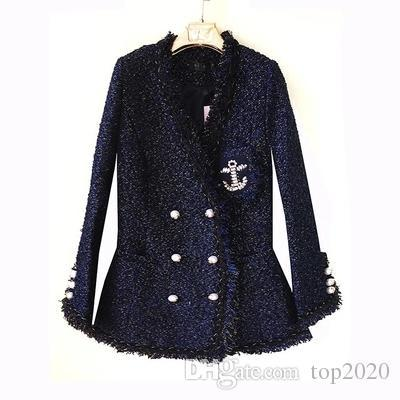 Women velvet sexy elegant OL V collar Tassel pearl suit boutique famous fashion brand soft Ladies classic Tweed Cotton Thin Slim jacket