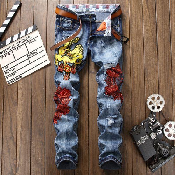 Yeni dış ticaret Avrupa ve Avrupa delik gelgit pantolon Işlemeli Çin ejderha mavi düz Ince erkek kot pantolon Erkek kot sweatpant