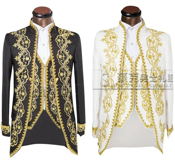 ( Jacket + pants + vest )Gold 2018 Fashion Men suits Slim Fit Tailcoat Groom wedding Prom Dress Suit Embroidered Male For Tuxedo