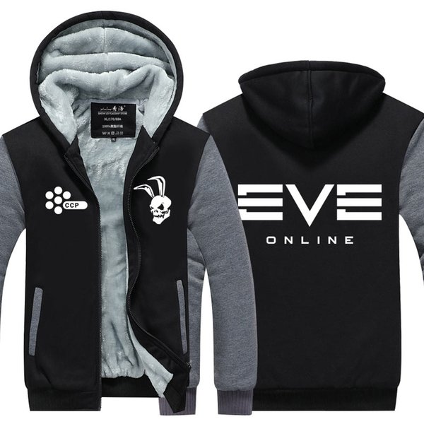 Men Casual Thicken Hooded Sweatshirts Eve Online Games Print Cotton Zipper Hoodies Winter Cardigan Jacket Coat Pullover Tops USA EU Size