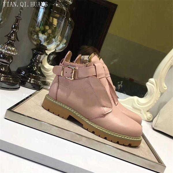 Nuevo estilo Diseño de moda clásico Botines de mujer Botas de mujer Zapatos Zapatos de cuero genuino de motocicleta de alta calidad Tamaño 35-40