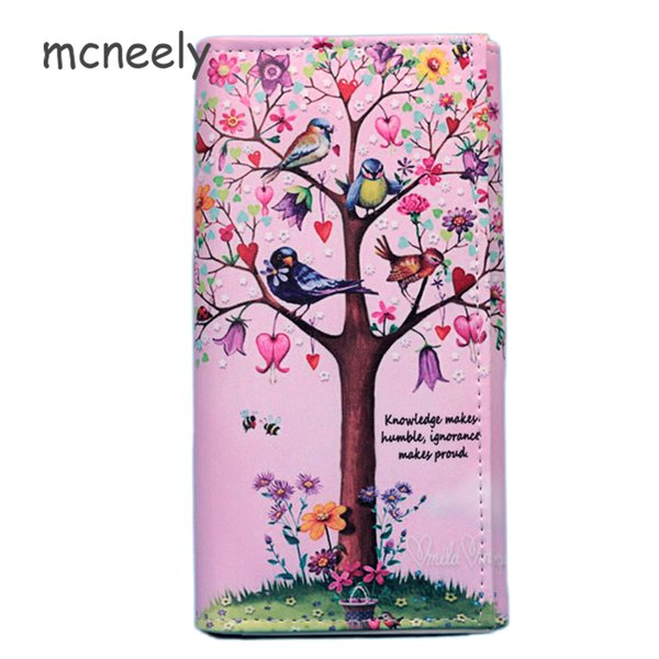 Mcneely money tree Women Wallets Casual PU Leather Wallet Female Card holder Coin Purse Girls Hasp Long Clutch Wallet carteira