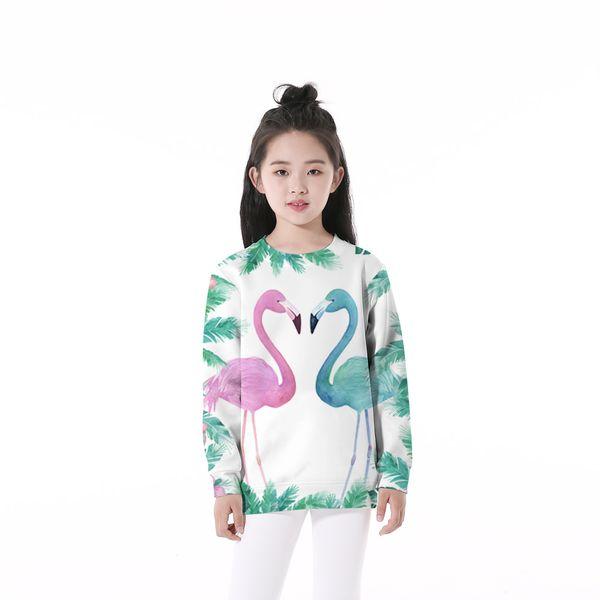 Anti-Samely Impression 3D Flamingo Enfants Sweatshirts O-Cou Bébés Garçons Filles Enfant Vêtements enfant