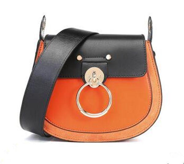 Hot Sale Women Crossbody Bags Genuine Leather Female Saddle Bag Retro Solid Cowhide Shoulder Messenger Bag