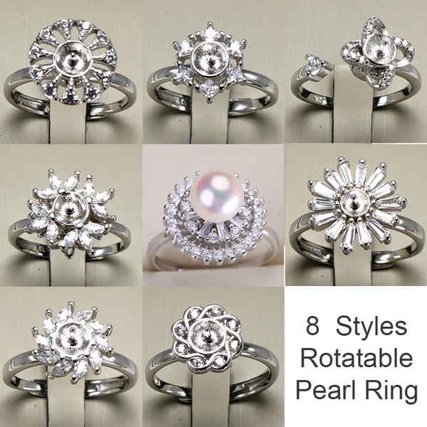 top popular Rotatable Ring 925 Silver DIY Pearl Rings Settings Shiny Zircon Ring for Women Fashion Jewelry Ring For Adjustable Size Gift New Design 2019