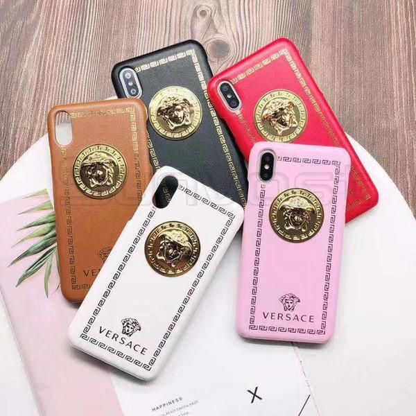 Per IPhone 11 Pro 11Pro Xs Max Xr X della pelle del cuoio della cassa del telefono della copertura del metallo della testa dell'uomo decorato mobile per Apple 7 7plus 8 8plus 6 6S 6sPlus