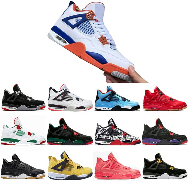Special Offer Bred Tattoo 4 IV 4s Men Basketball Shoes Travis Pizzeria Singles Day Black cat mens trainers designer Sports Sneakers US 7-13