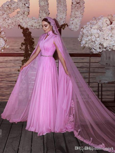 Bir Çizgi Şifon Plaj Yüksek Boyun Ucuz Gotik Afrika Resepsiyon Zuhair Murad Gelinlik Uzun Abiye Ile Gelinlikler vestidos de noiva